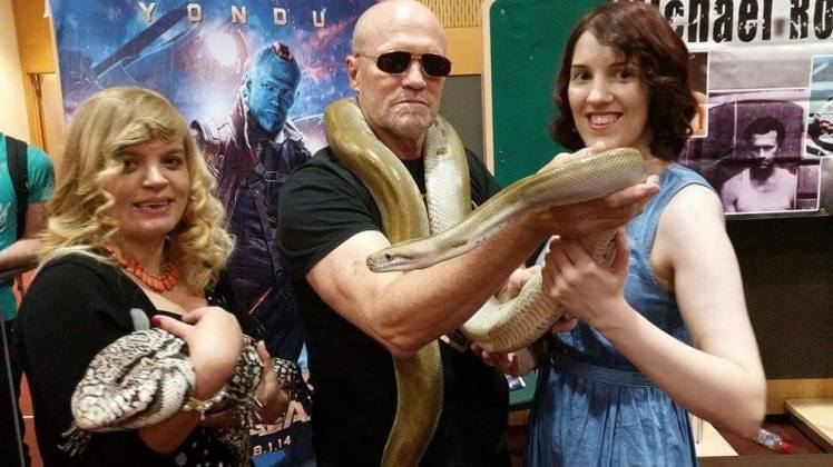 The HSIs Emma Lawlor with Michael Rooker.